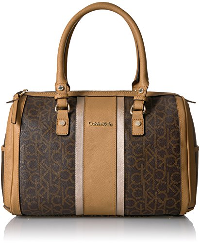 Bowling Purse - Calvin Klein Monogram Bowling Bag Satchel, Brown Combo