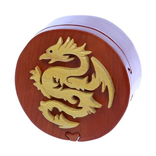 Handcrafted Wooden Round Dragon Shape Secret Jewelry Puzzle Box - Dragon