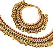 Jewel India Traditional Indian Fashion Bollywood Ethnic Gold Kundan Ghungroo Beads Payal Anklets