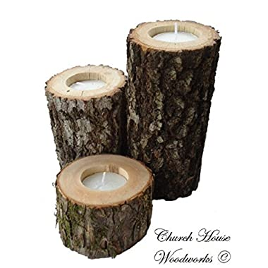 Rustic Tree Branch Candle Holder - Set of 3