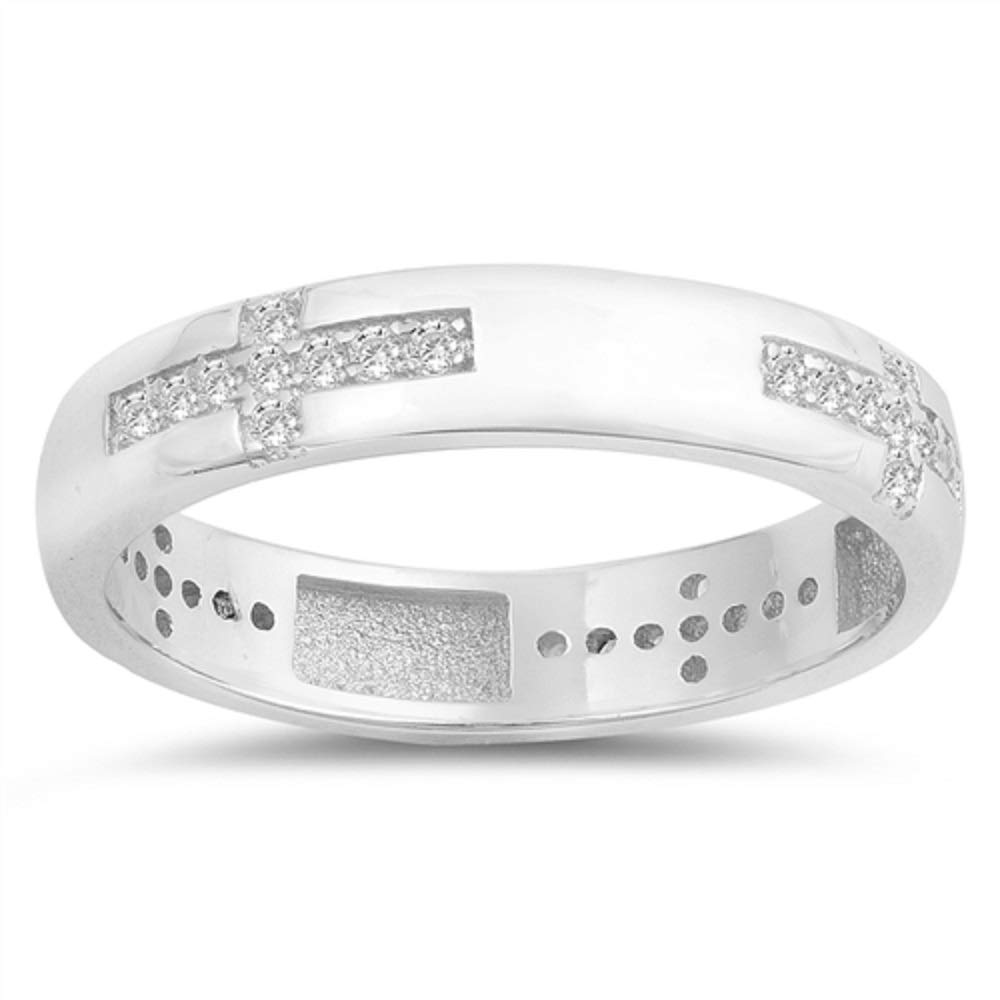 CloseoutWarehouse Clear Cubic Zirconia Eternity Cross Band Ring Sterling Silver