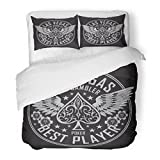SanChic Duvet Cover Set Spade Las Vegas Player Poker Tee Graphics Wing Gambling Vintage Casino Decorative Bedding Set 2 Pillow Shams King Size