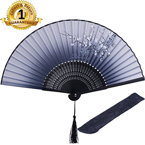 """HONSHEN Decorative Folding Fans Small Fan Gift for Women 8.27""""(21cm) with Bamboo Frame and Silk with a Fabric Sleeve for Protection- Chinese/Japanese Vintage Retro Style (Black)"""
