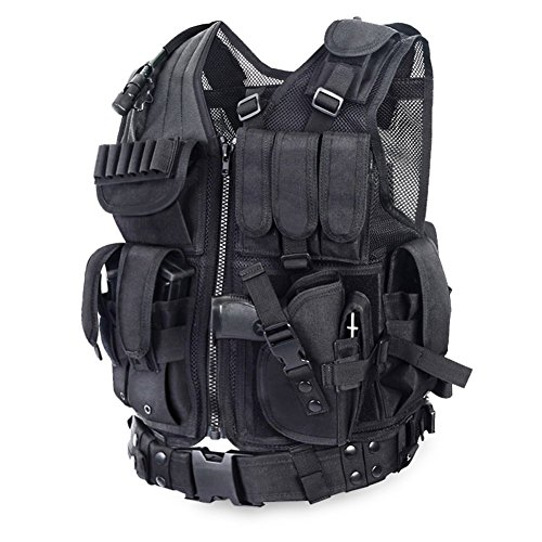 Yakeda Army Fans Tactical Vest Cs Field Outdoor Equipment Supplies Breathable Lightweight Tactical Vest Swat Tactical Vest Special Forces Combat Training Vest--1063(Black)