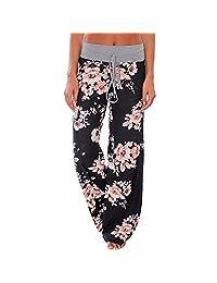 QIYUN.Z Women's Floral Print Yoga Long Pants Sports Trousers