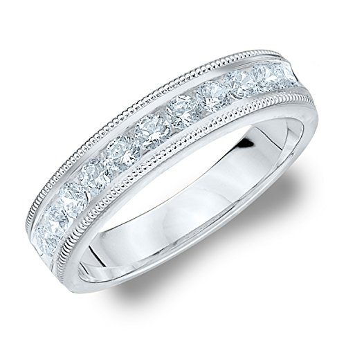 14K White Gold Diamond Milgrain Wedding Band (.50 Cttw, G-H Color, SI1-SI2 Clarity)