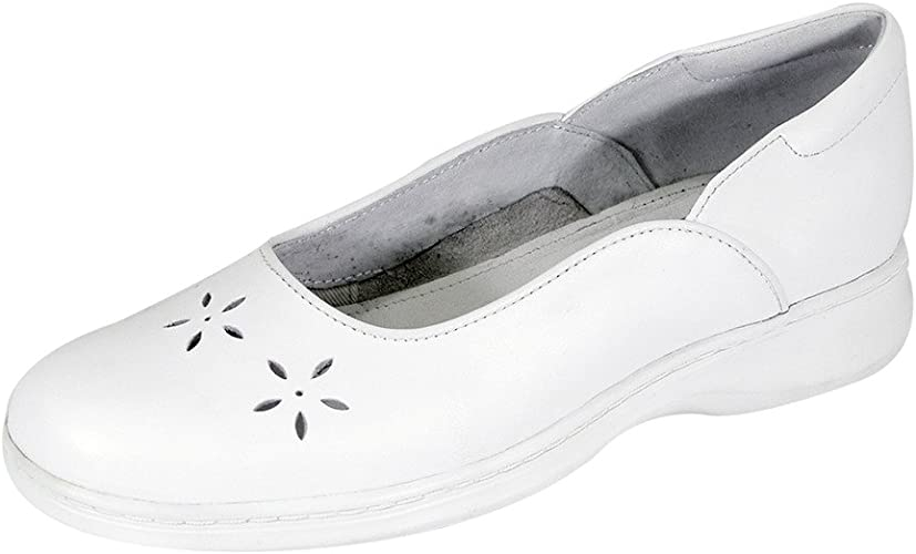 24 Hour Comfort Heather Women Wide Width Classic Casual Leather Dress Skimmer Flat with Floral Cut Design