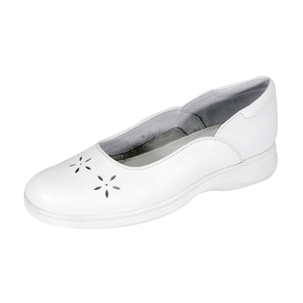 24 Hour Comfort  Heather (1034) Women Wide Width Leather Dress Skimmer Flats White 7.5