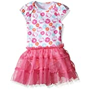 Hello Kitty Baby Tutu Bodysuit with Flower Print, Carmine Rose, 6-9 Months