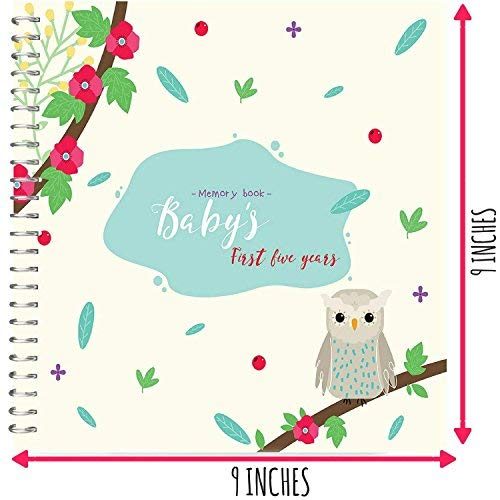 Baby's First Five Years Hardcover Memory Book Owls Edition - 5 Year-Old Babies Journal and Milestones Photo Album - Perfect and Unique Gift Idea for Baby Showers and Birthday Presents Unconditional Rosie MBOwl2