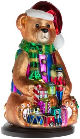 Thomas Pacconi Hand-Painted Glass 14-Inch Teddy Bear Figurine with Wood Base