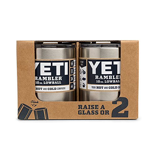YETI Rambler 10oz Vacuum Insulated Stainless Steel Lowball with Lid (2 Pack Stainless)