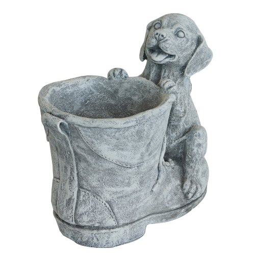Puppy & Boot Planter: Quality Hand Cast Resin Garden (Patio Hand Cast)