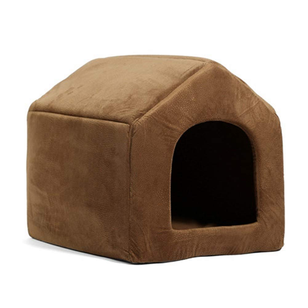 L PetvillaLKR Pet Products Luxury Dog House Cozy Dog Bed Puppy Kennel 5 color Pet Sleeping Bed Cat Cushion Kitten Mats Pet Shop Brown,L