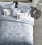 Tahari 3 Pc Reversible Duvet Cover Set Vintage Boho Hippie Style Intricate Tapestry Round Medallion Pattern Medium Blue on White, 100% Cotton Luxury Quilt Comforter Cover - Emmalyn, Blue (Queen)