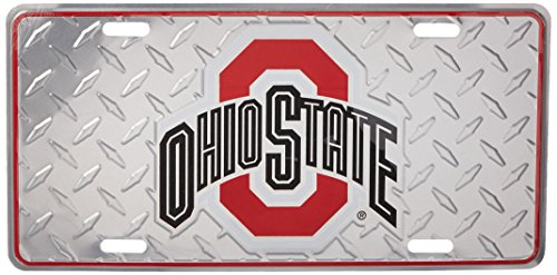 Ohio State University Buckeyes Diamond Metal College License Plate Wall Sign Tag