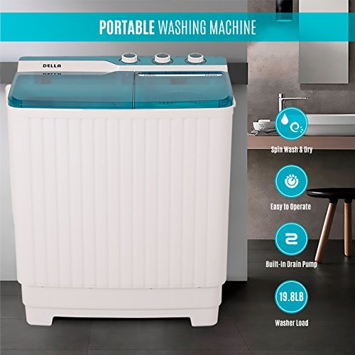 DELLA Portable Mini Compact Twin Tub Washing Machine Washer Spin Dryer Cycle...