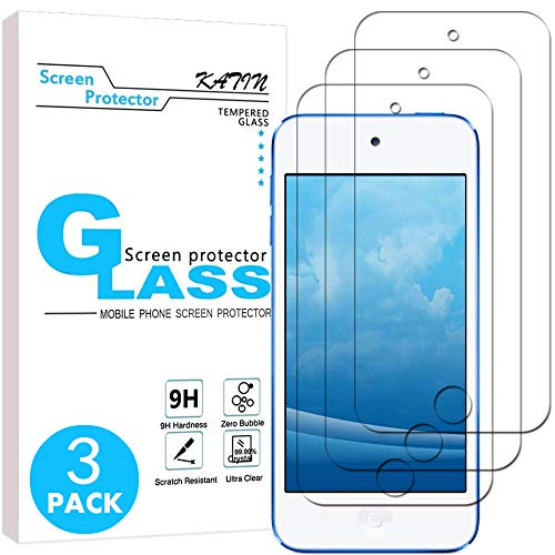 KATIN iPod Touch Screen Protector - [3-Pack] Tempered Glass Film For Apple iPod Touch 6G (6th Generation) / 5G (5th Generation) with Lifetime Replacement Warranty