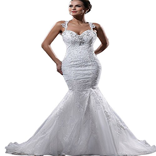 Yilian Women's Straps Applique Beading Organza Mermaid Court Train Wedding Dresses (16, ()