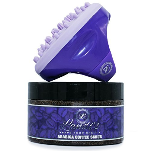 Landi#039s  Arabica Coffee Body Scrub | 100% Natural | with Coconut and Shea Butter | Best Anti Cellulite and Stretch Mark Treatment | Spider Vein Therapy for Varicose Veins amp Eczema  Exfoliating Brush