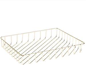 Fvstar Desk File Tray Wire Tabletop Tray Mail Magazine Newspaper Storage Basket Organizer Home Office Organization (Gold)