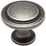 pewter drawer knobs - 25 Pack - Cosmas 5560WN Weathered Nickel Cabinet Hardware Round Knob - 1-1/4