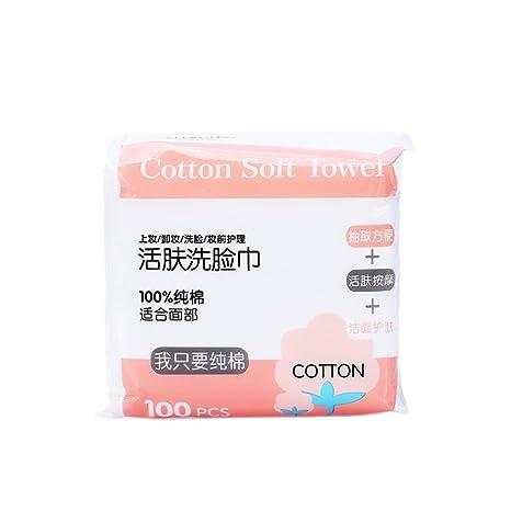 Frcolor - 100 toallas desechables de algodón facial con caja de almacenamiento.