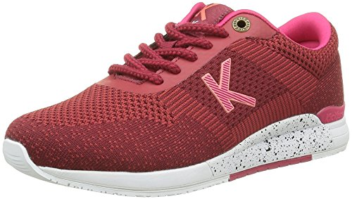 Kickers Knitwear, Baskets Basses Femme Rouge (Bordeaux Fuchsia)