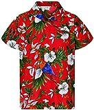King Kameha Funky Hawaiian Shirt, Shortsleeve, Cherryparrot, Red, XXL