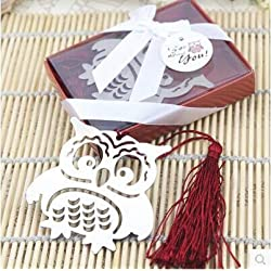 SMALL-CHIPINC - 10pcs owl Angel Bookmark w/Tassel Baptism Girl Baby Shower Souvenirs Event Party Supplies Wedding Favors Gifts For Guest