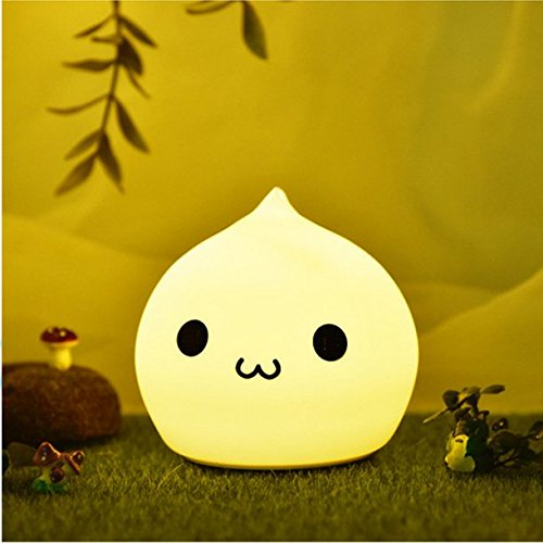 Waterdrop - Colorful Silicon Cute LED Night Light, Tap Sensor Control, USB Rechargeable Lighting, Warm White normally-on and 7 Colors Stroboscopic mode, Good Decor Lamp for Baby Room, Children