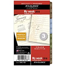 """AT-A-GLANCE Day Runner Weekly / Monthly Planner Refill, January 2018 - December 2018, 3-3/4"""" x 6-3/4"""", Loose Leaf, Size 3, Poetica (3042-100)"""