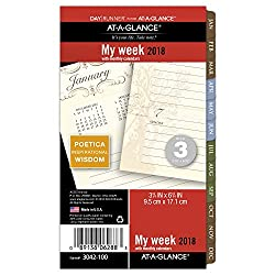 """At-a-glance Day Runner Weeklymonthly Planner Refill, January 2018 - December 2018, 3-34"""" X 6-34"""", Loose Leaf, Size 3, Poetica (3042-100)"""