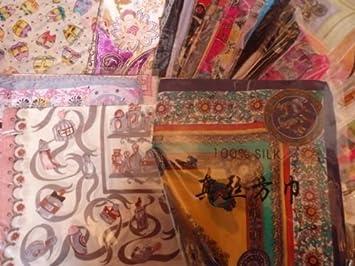 estilos frescos de calidad superior venta al por mayor 15 pcs Real cuadrado pañuelo de seda al por mayor trabajo ...