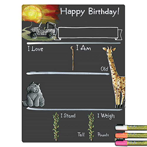 (Cohas Birthday Milestone Board with Safari Theme, Reusable Chalkboard Style Surface, and Liquid Chalk Markers, 15 by 20 Inches, 3 Bright Markers)