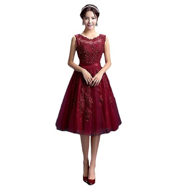 Vimans - Vestido - trapecio - para mujer Rojo granate 46