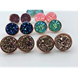 Druzy Stud Earrings, in rose gold, Gold or Silver