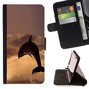 Momo Phone Case / Flip Funda de Cuero Case Cover - DELFÍN SPLASH PUESTA DEL SOL - Samsung Galaxy Note 3 III