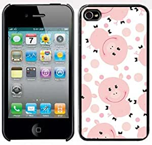 Apple iPhone 4 4S 4G Black 4B69 Hard Back Case Cover Cute Cartoon Pig Design