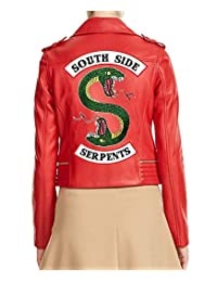 Womens Southside Serpents Riverdale Slim Fit Biker Red Leather Jacket