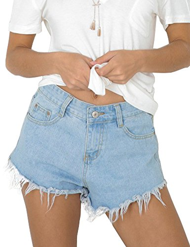 Allegrace Women Summer Casual Raw Edge Hem Denim Shorts Fashion Junior Jean Shorts Light Blue L (Raw Edge Shorts Denim)