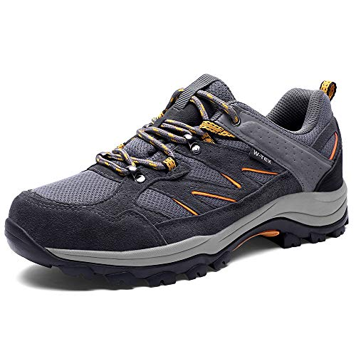 SILENTCARE Men's Hiking Shoes ,Non-Slip Waterproof Sneaker,Breathable Low Top Cushion Work Shoes for Outdoor Walking Trekking Backpacking (12 M US) Grey ()