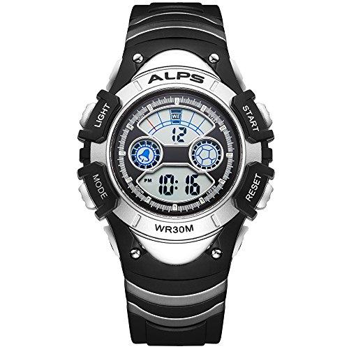 ALPS Kids Watch,Boys Girls,Outdoor,MultiFunction Digital LED Waterproof Sport Watch (Silver) Silver Girls Watch