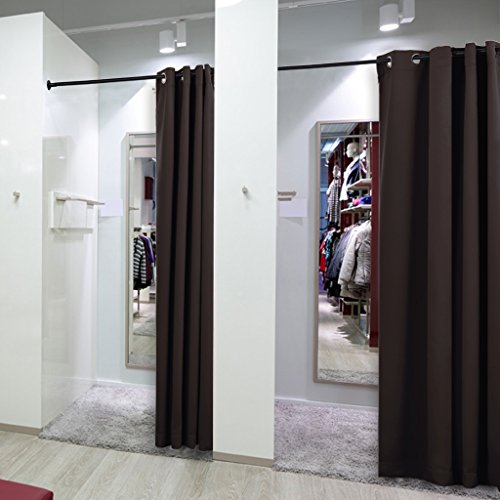 NICETOWN Clutter Covering Multi Use Curtain A For Shelf/ Wardrobe/ Closet/  Storage Area  52 Inch Wide X 108 Inch Long   Brown   1 Piece