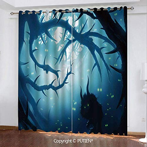 Satin Grommet Window Curtains Drapes [ Mystic House Decor,Animal with Burning Eyes in Dark Forest at Night Horror Halloween Illustration,Navy White ] Window Curtain for Living Room Bedroom Dorm Room C]()
