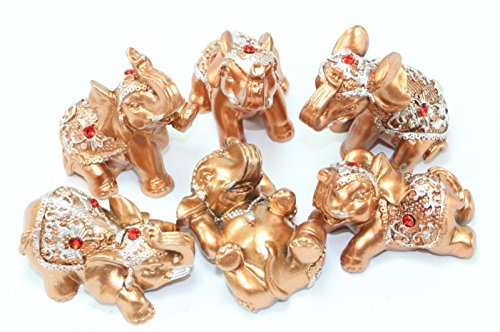Cafolo Set of 6 pcs Gold Color Lucky Elephants Statues Feng Shui Figurine For Home & Office Decor Housewarming Birthday Congratulatory Holiday Gift