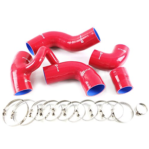 Silicone Boost Turbo Hose Kit Clamps For Volvo 850 T-5/T-5R S70/V70 T5 2.3L 1993-1997 1994 1995 1996 Red 5PCS ()