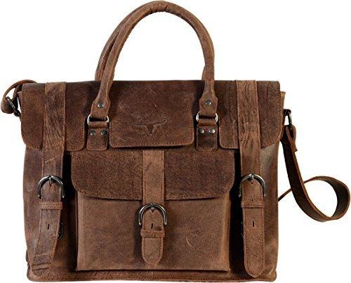 UF 15'' Leather handbags, messenger bag, business bags, briefcases, laptop bags, Macbook case, Purse, shoulder bags, Women Briefcase Crossbody Travel Satchel Tobbaco by QualityArt