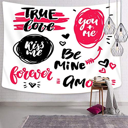 Janyho Tapestry Wall Hanging Valentine Day Lettering Handwriting Calligraphy Love Quotes and Inscriptions Bedroom Living Room Home Picnic Beach Towel Print Polyester 60x80 Inch