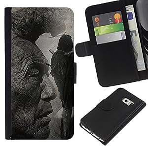 Samsung Galaxy S6 EDGE SM-G925 , la tarjeta de Crédito Slots PU Funda de cuero Monedero caso cubierta de piel ( Native American Indian Man Art Nature Hair)